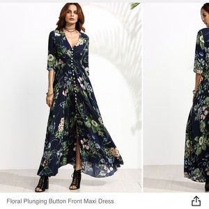 Floral maxi dress with buttons and smocked waist